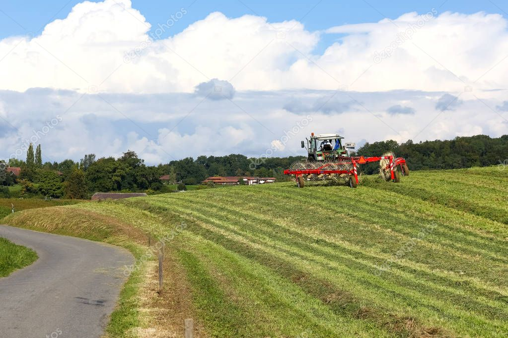Tractor in the field during operation