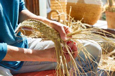 Esparto halfah grass crafts craftsman hands working stock vector