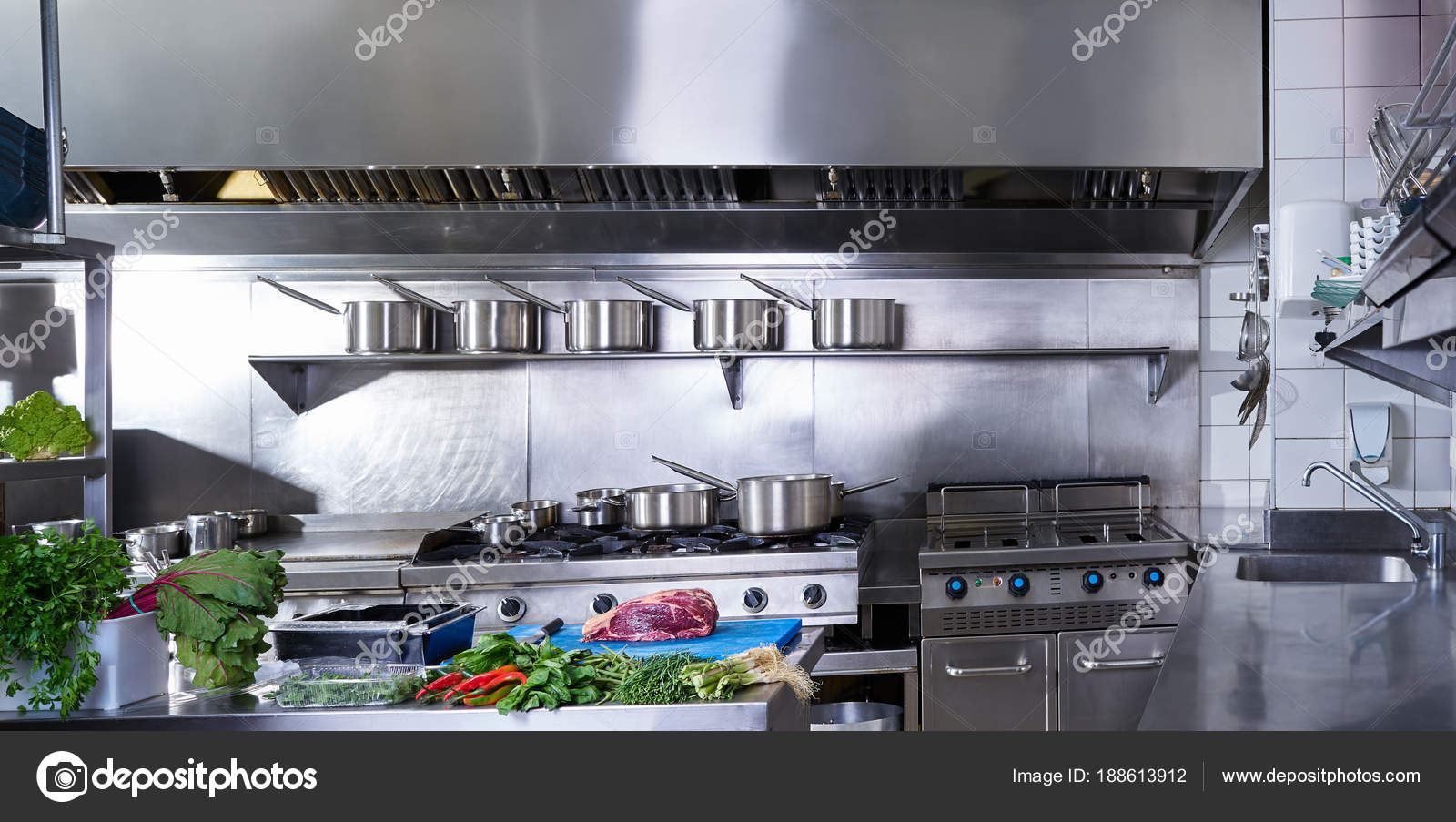 Professional Restaurant Kitchen Stainless Steel Stock Photo C Lunamarina 188613912