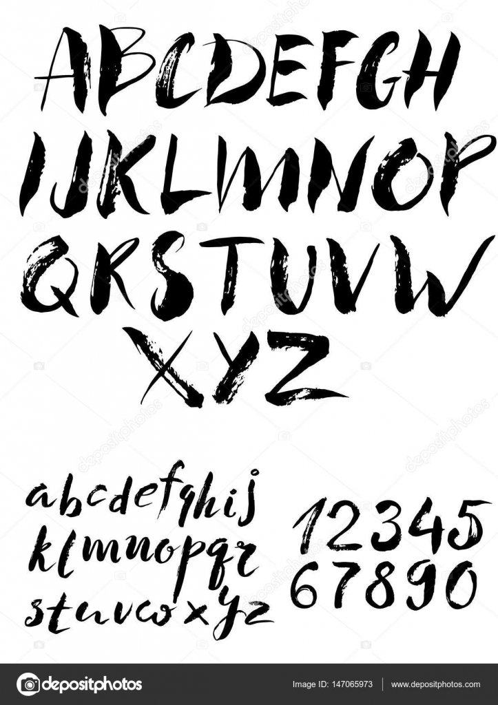 Calligraphy Alphabet Font And Numbers Stock Vector