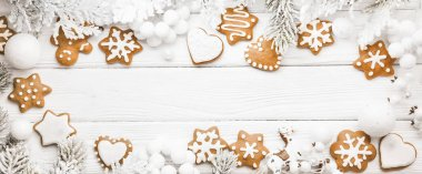 Christmas cookies with fir branches