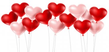 Red and pink balloons isolated on white. Vector illustration clip art vector