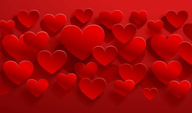 Paper red hearts