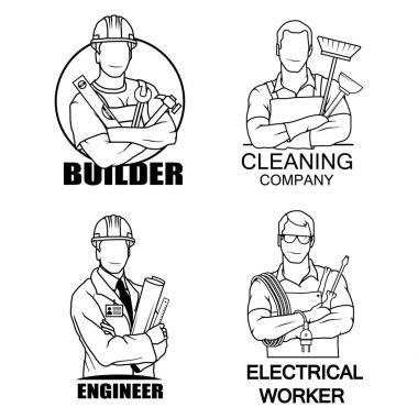 A set of logos - a builder with a construction tool, an engineer with a layout, an electrician with a tool and a cleaner