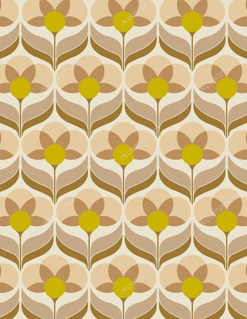 Sixties Flower Sixties Flower Wallpaper Stock Vector