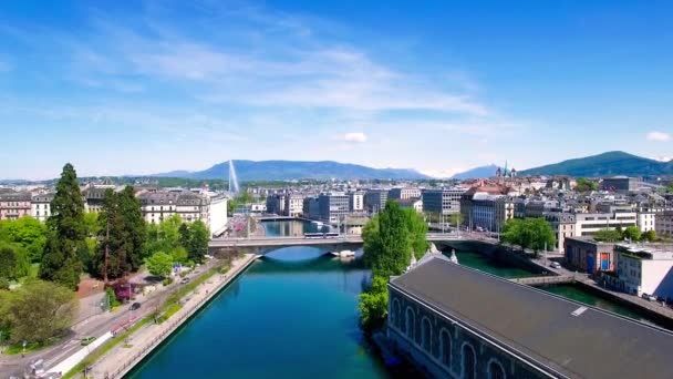 4 k letecké záběry města Ženeva ve Švýcarsku - Uhd