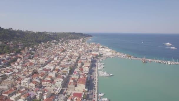 4K (UHD) Aerial view of Zakynthos city in Zante island, in Greece - log