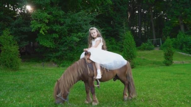 Kleines Mädchen Ist Ein Pony Reiten Stockvideo Zokov 161676354