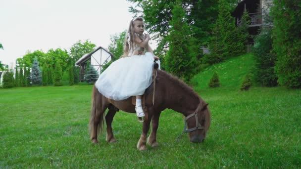 Kleines Mädchen Ist Ein Pony Reiten Stockvideo Zokov 166638422