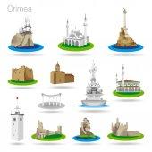 eine Reihe farbiger Crimea-Symbole. Zeichnung Vektor Illustration