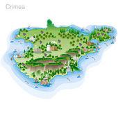 Zeichnung der farbigen touristischen Karte der Krim. Vektorillustration