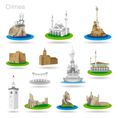 Set of color Crimea icons. Drawing vector illustration