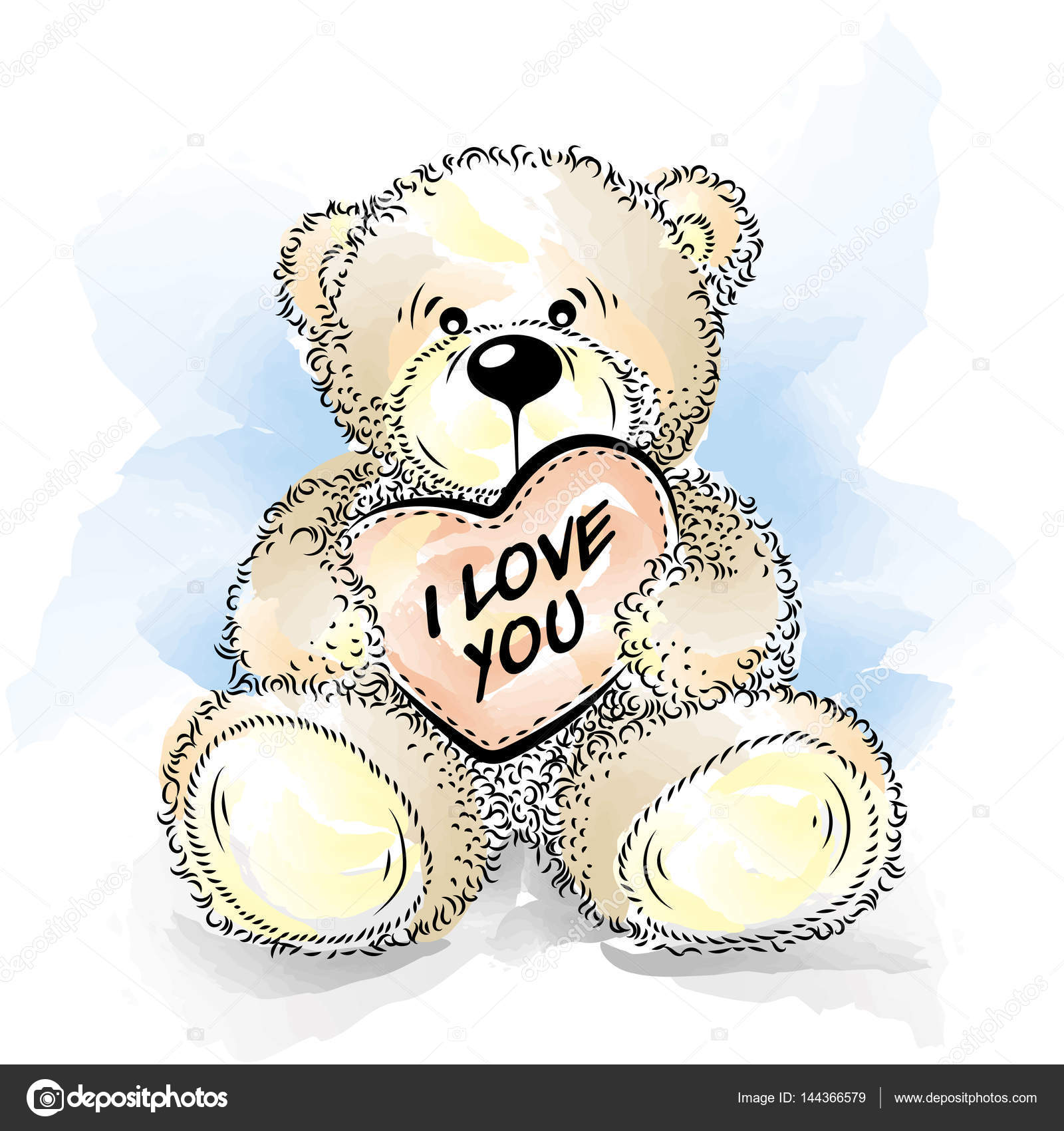 Teddybär zeichnen mit Herz. Farbe-Vektor-illustration — Stockvektor ...