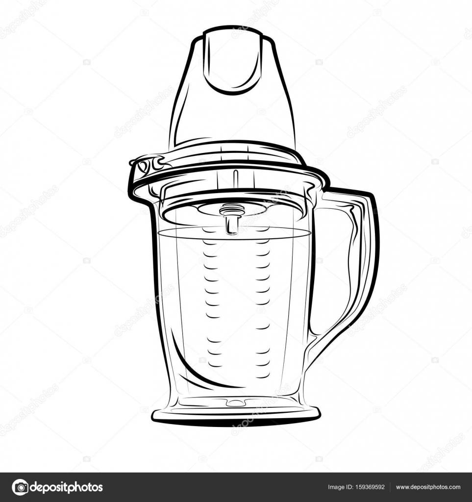 Zeichnen Von Schwarzen Und Weissen Kuche Mixer Stockvektor