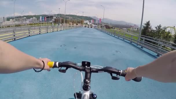 Cycling On A Bike In First Person View. The Sochi Olympic Park