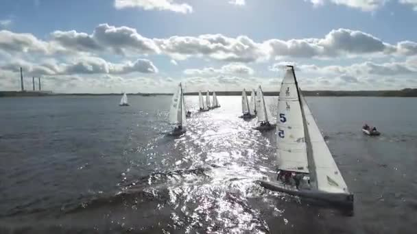Aerial View Sailboat Boat Regatta Yachting Racing Dinghy