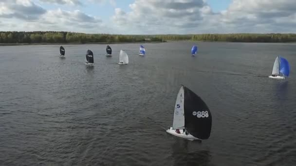Aerial View Sailing Boat Navigating With Open Sails