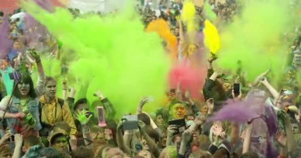 Colorful Holi. Beautiful Youth. Holi Festival Of Colorful Kicks. Slow Motion
