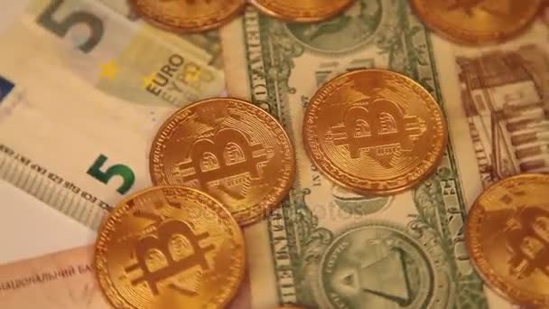 Cripto Currency Bitcoin Coin Spin. US Dollar, Euro