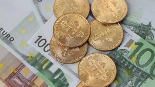 Cripto-Währung Bitcoin Coin Spin. 100 Euro