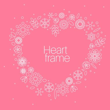 Minimalist floral background heart frame
