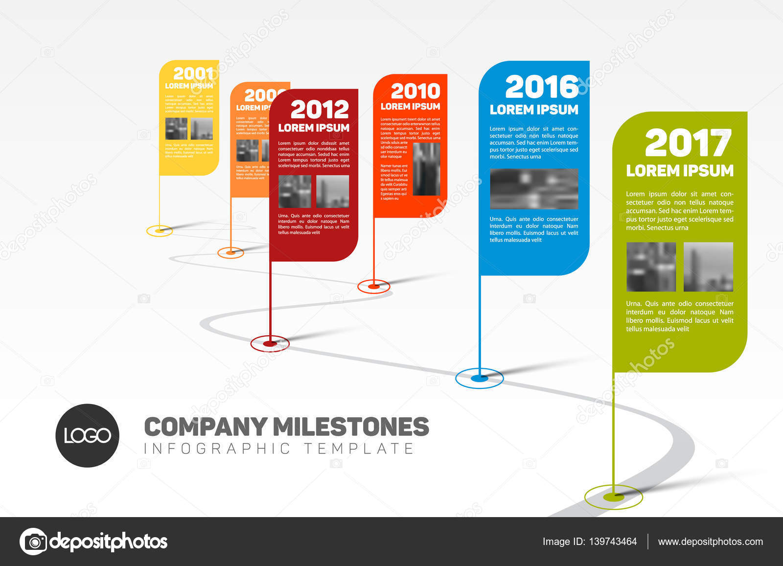 Company Milestones Timeline Template Vector orson 139743464 – Advertising Timeline Template