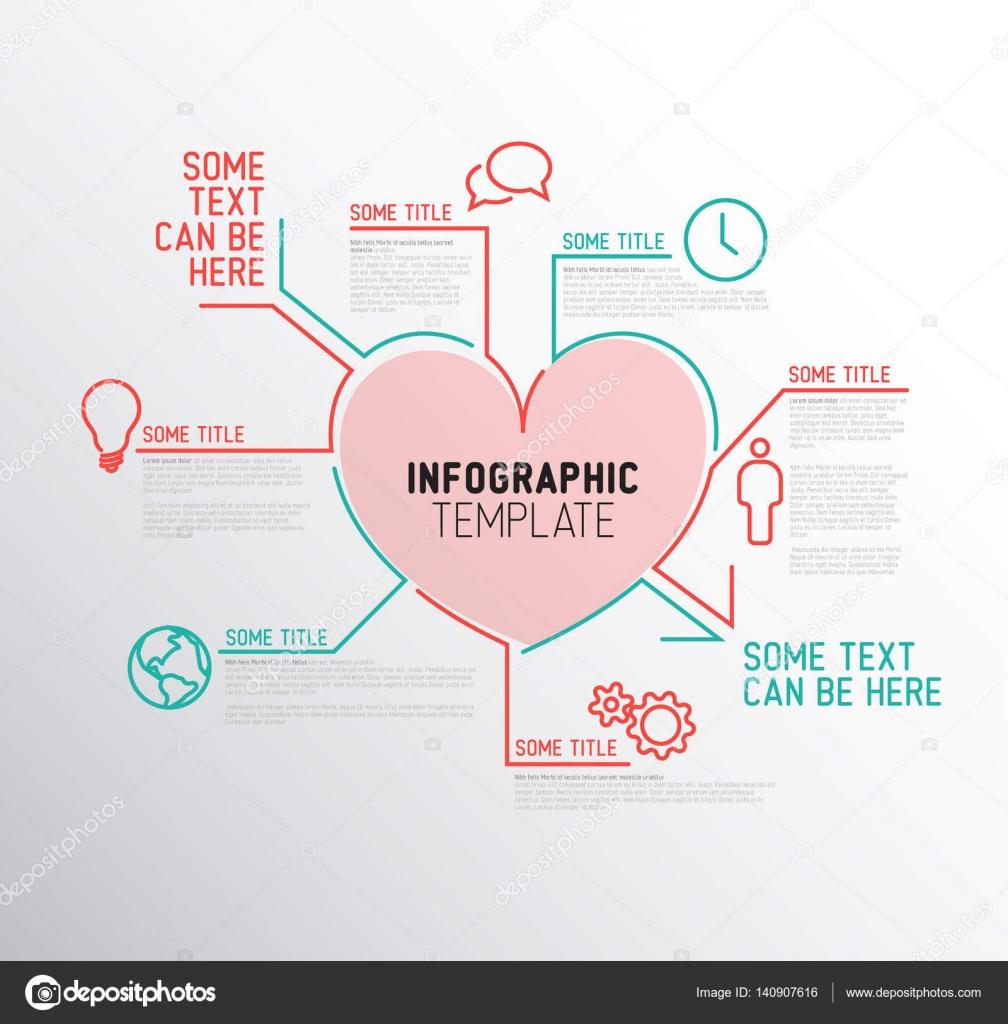 Plantilla de informe infografía de corazón — Archivo Imágenes ...