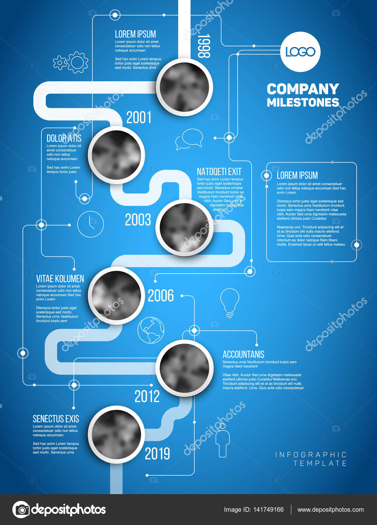 Infographic company milestones timeline template stock vector vector infographic company milestones timeline template with circle photo placeholders on a thick line vertical blueprint version vector by orson malvernweather Images