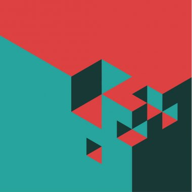 Red and teal vector abstract isometry background made from cubes stock vector