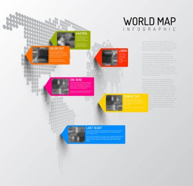 World map template with pointers