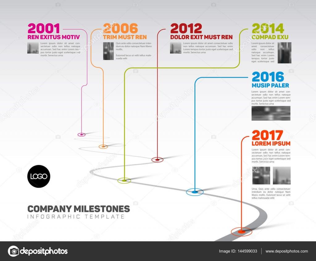 Infographic Company Milestones Timeline Template Stock Vector - Milestone timeline template