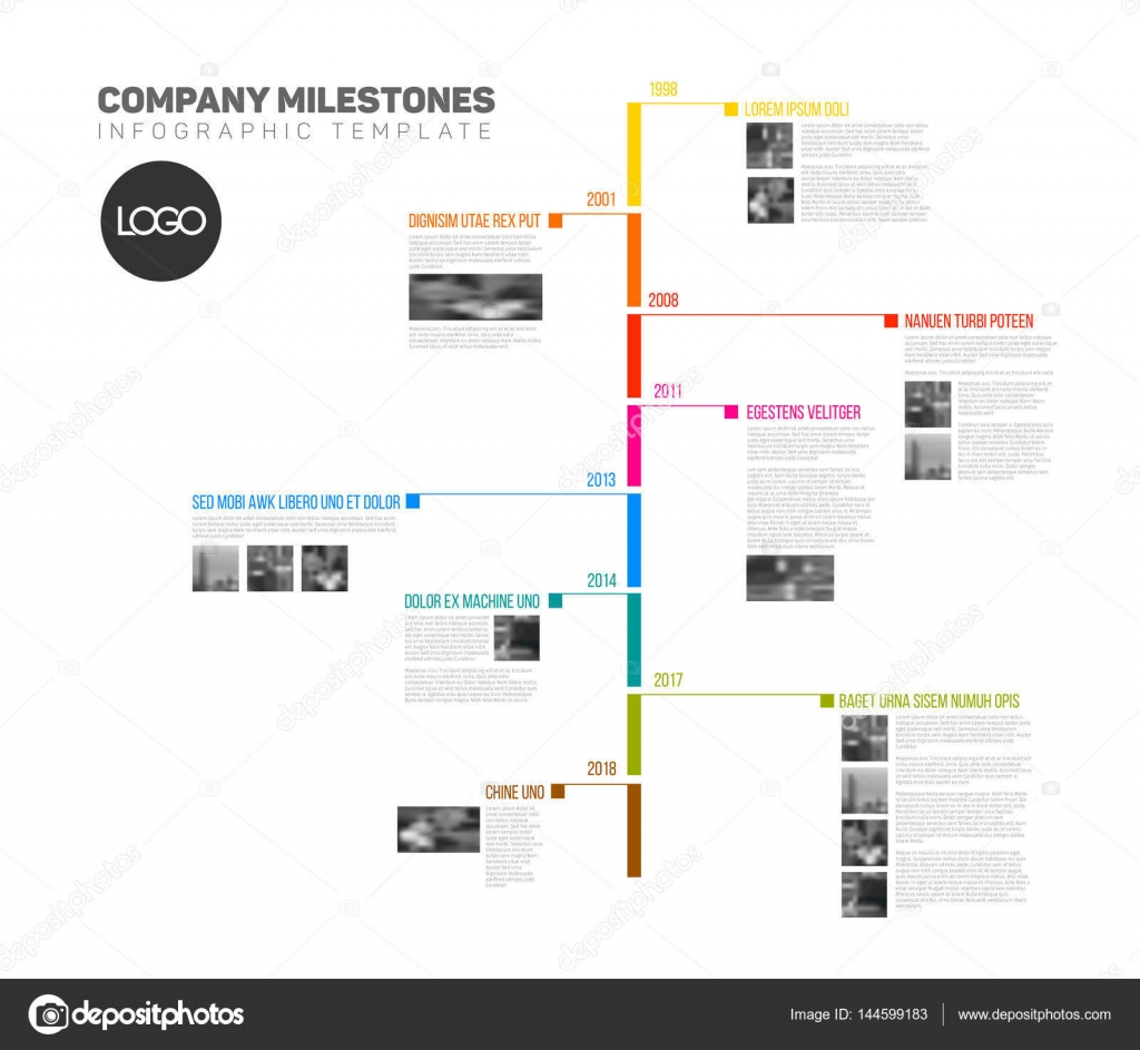 R Infographic timeline report template — Stock Vector