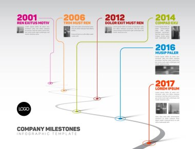 Vector Infographic Company Milestones Timeline Template with pointers and photo placeholders on a curved road line clip art vector