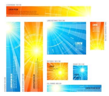 Set of hot summer sun banners