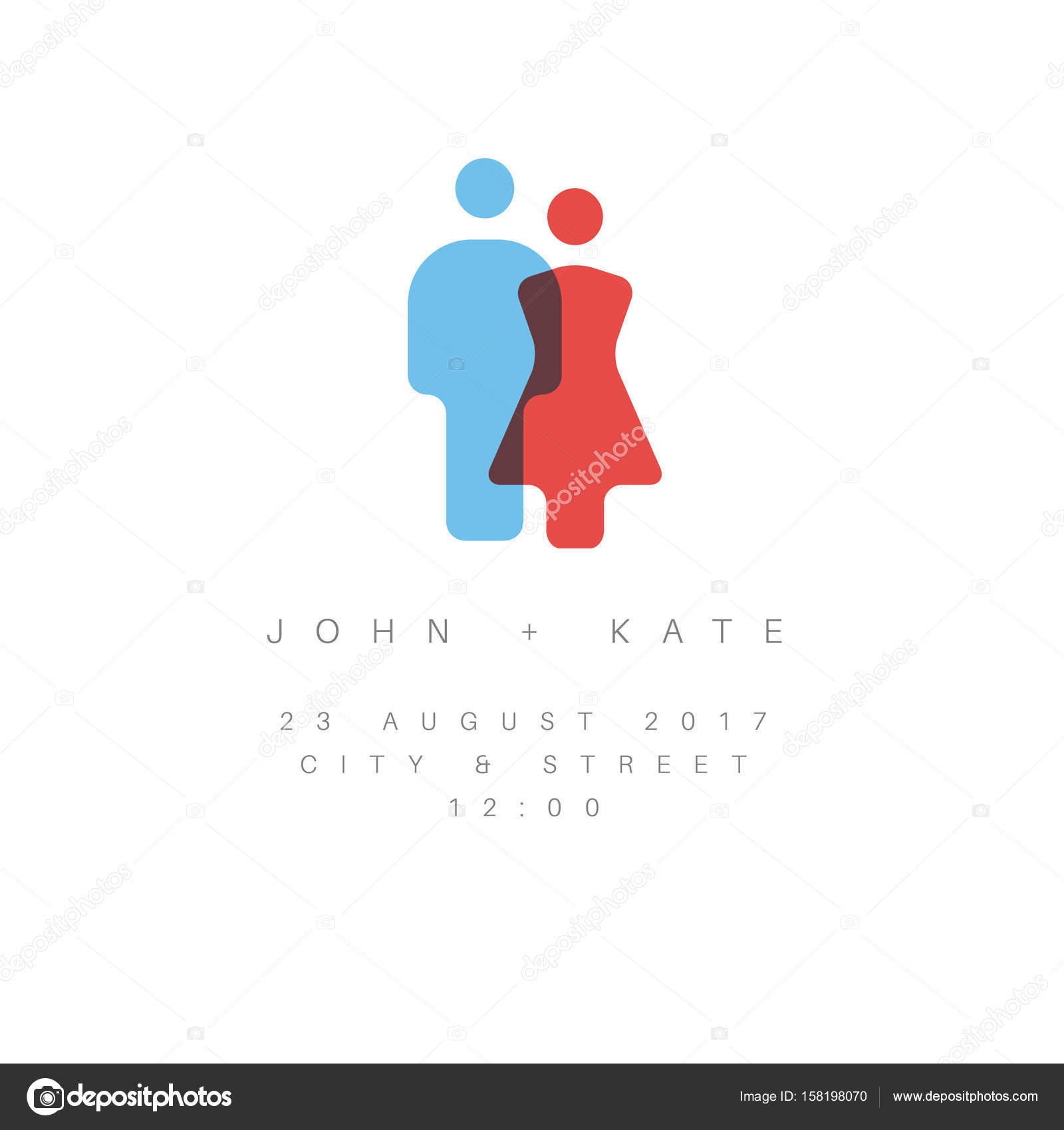 Minimalist wedding invitation stock vector orson 158198070 vector minimalist wedding invitation with man and woman silhouette icon and short sample text simple version vector by orson stopboris Image collections