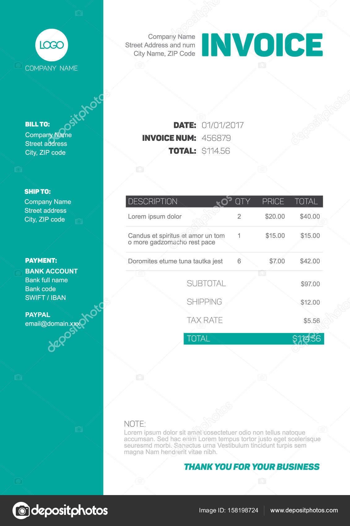minimalist invoice template stock vector a orson 158198724