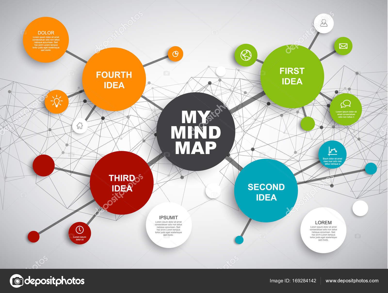 plantilla de infografía de mapa mental — Archivo Imágenes ...