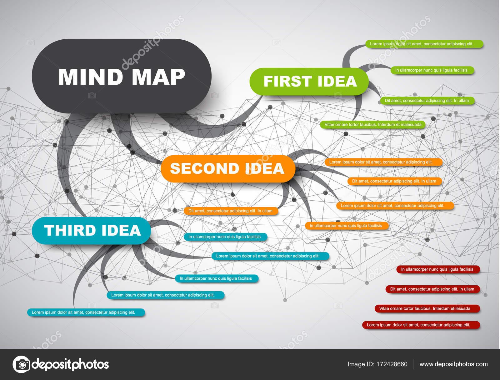 plantilla de infografía mapa abstracto de la mente — Archivo ...