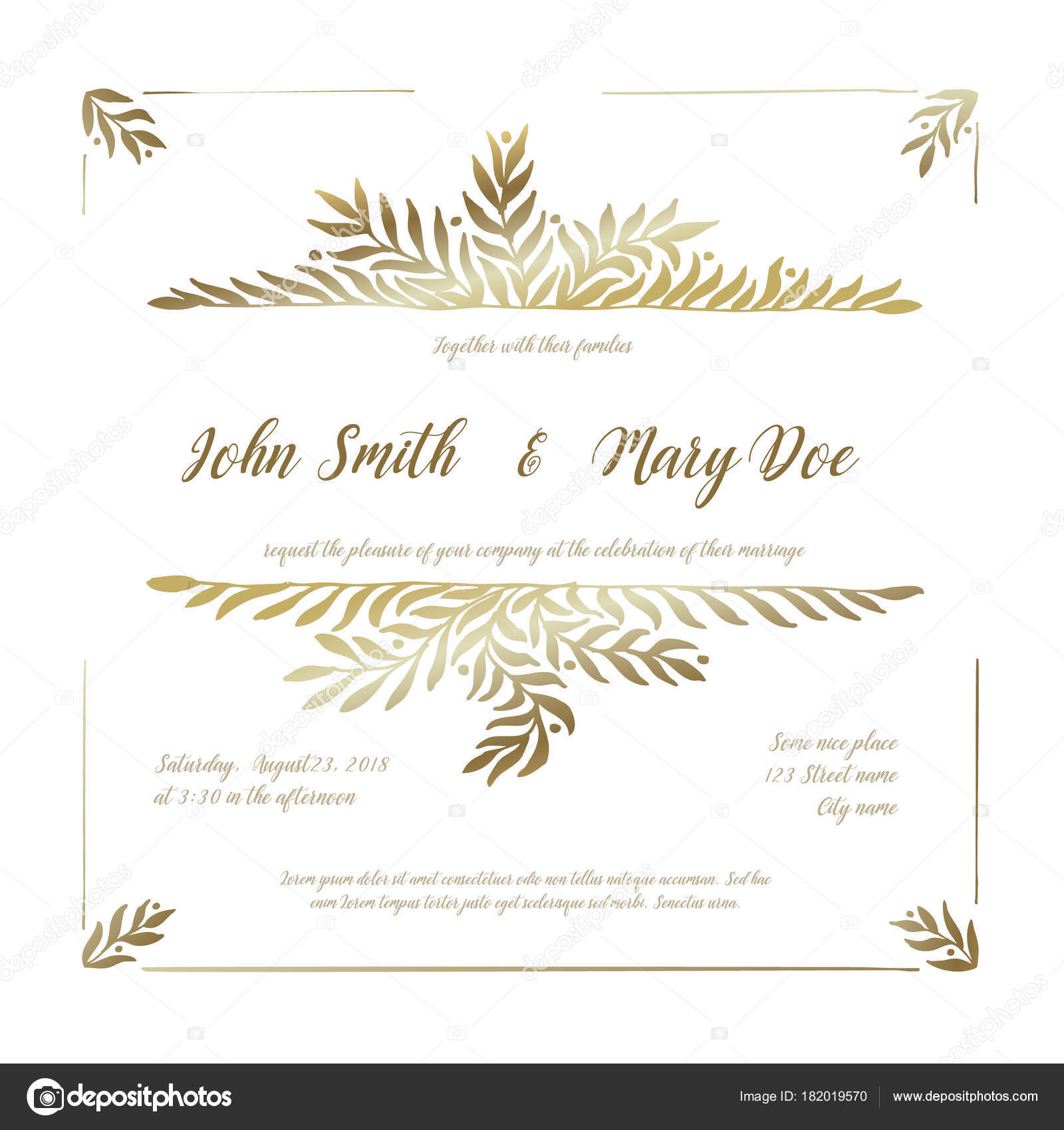 Vector Wedding Invitation Card Template Golden Floral