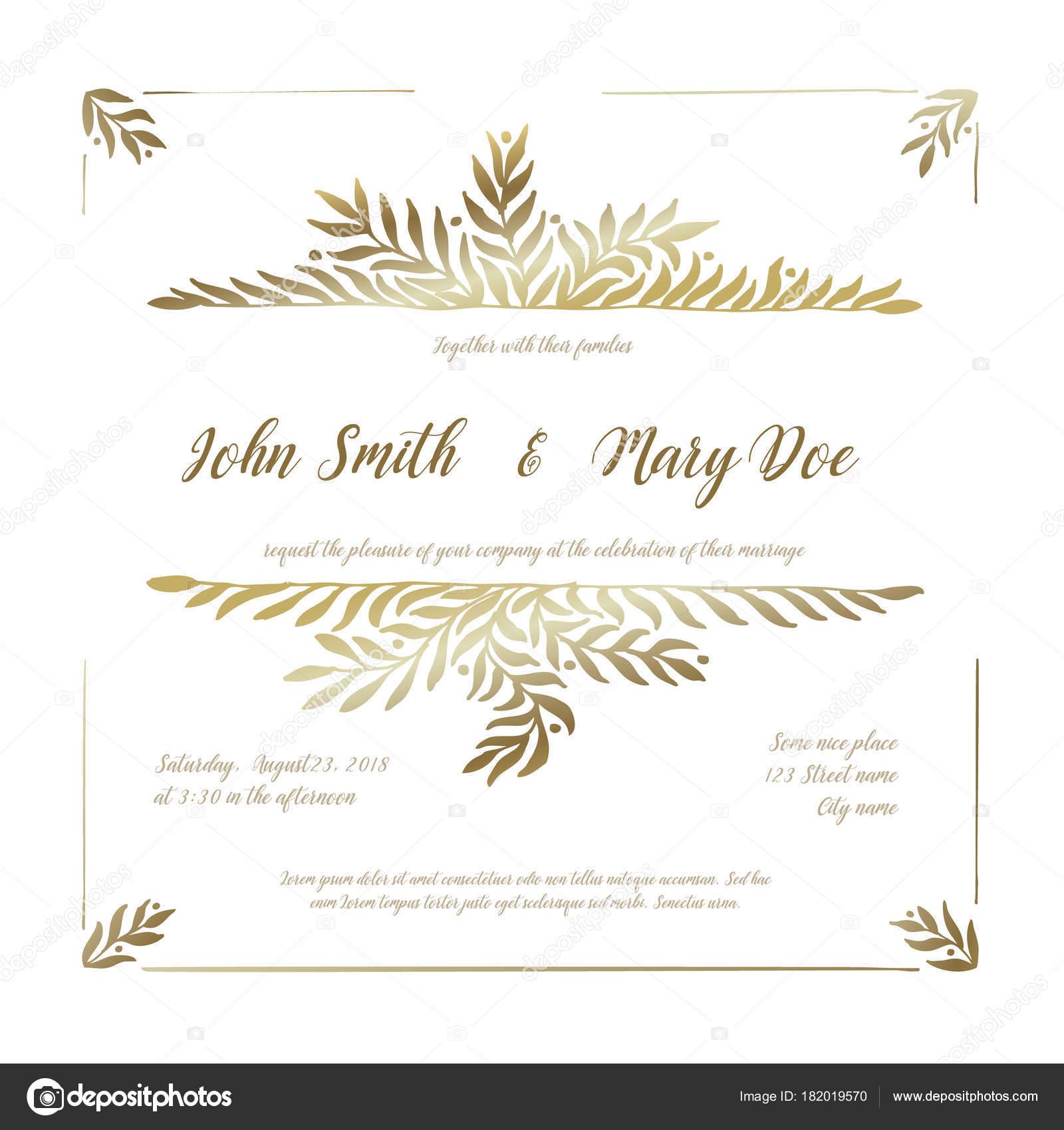 Vector Wedding Invitation Card Template Golden Floral Elements ...