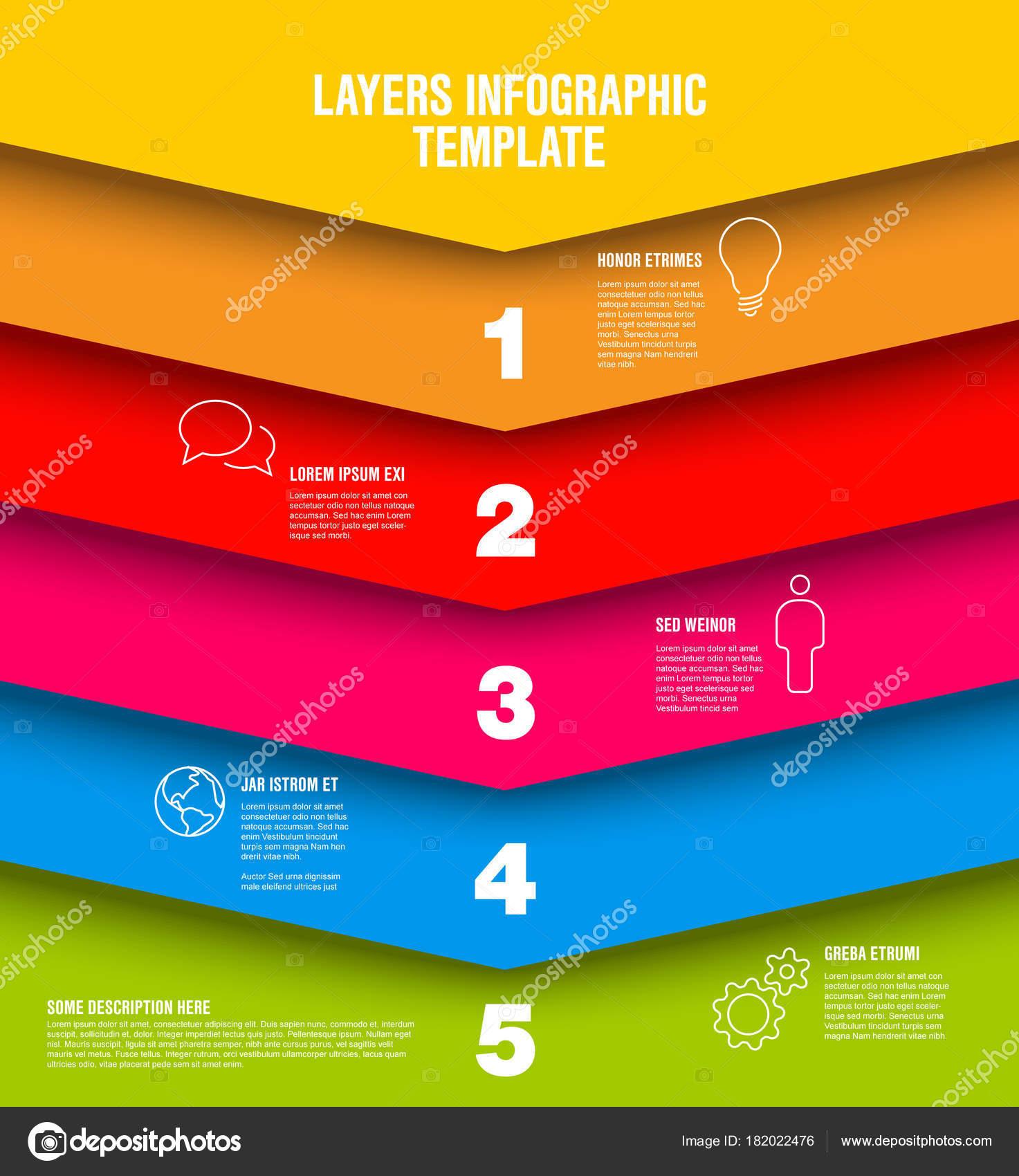 Vector Plantilla Capas Infografía Con Cinco Niveles Estructura Del ...