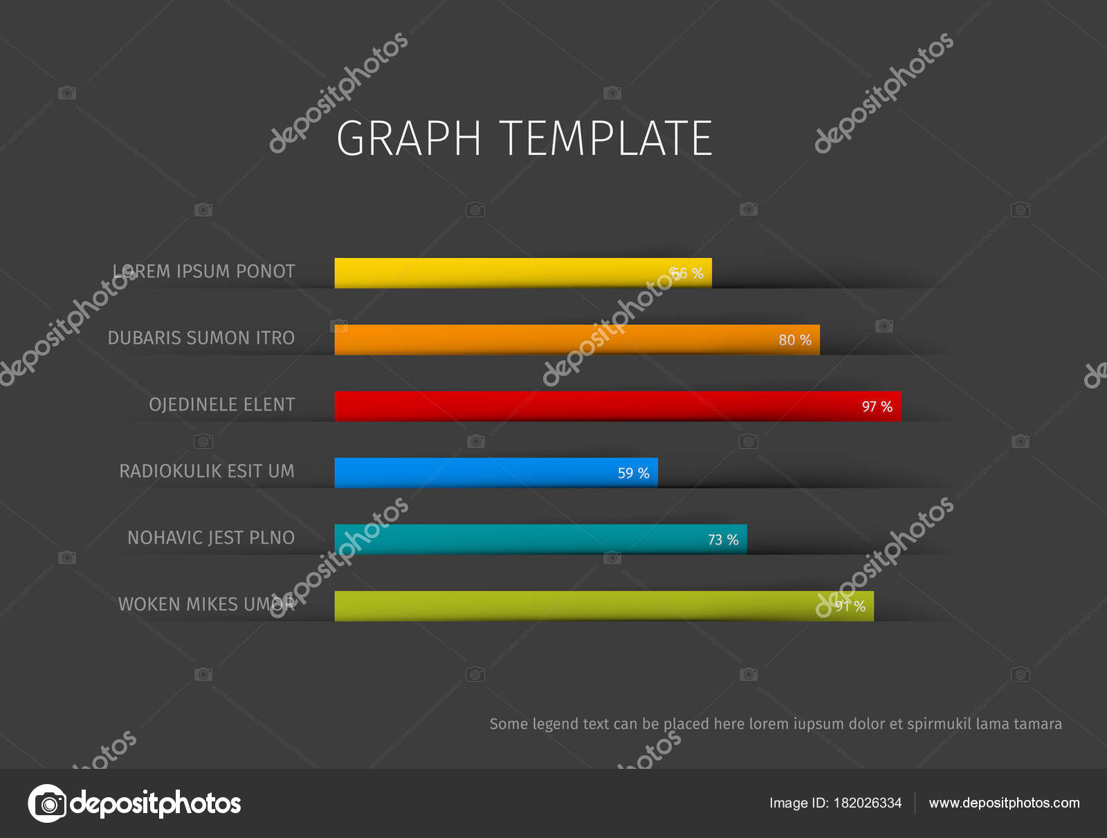 Plantilla Gráfico Horizontal Columna Vector Diseño Plano ...