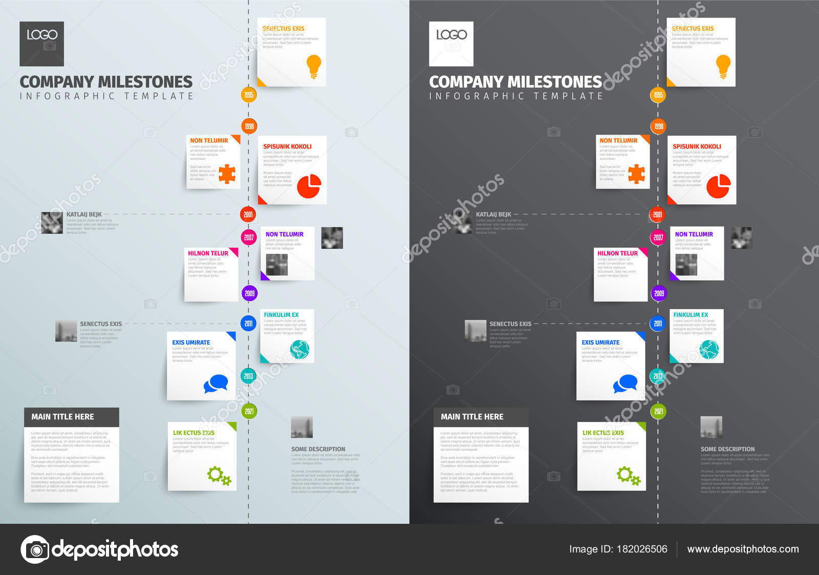 Vector Infographic Time Report Template Collection Vertical ...
