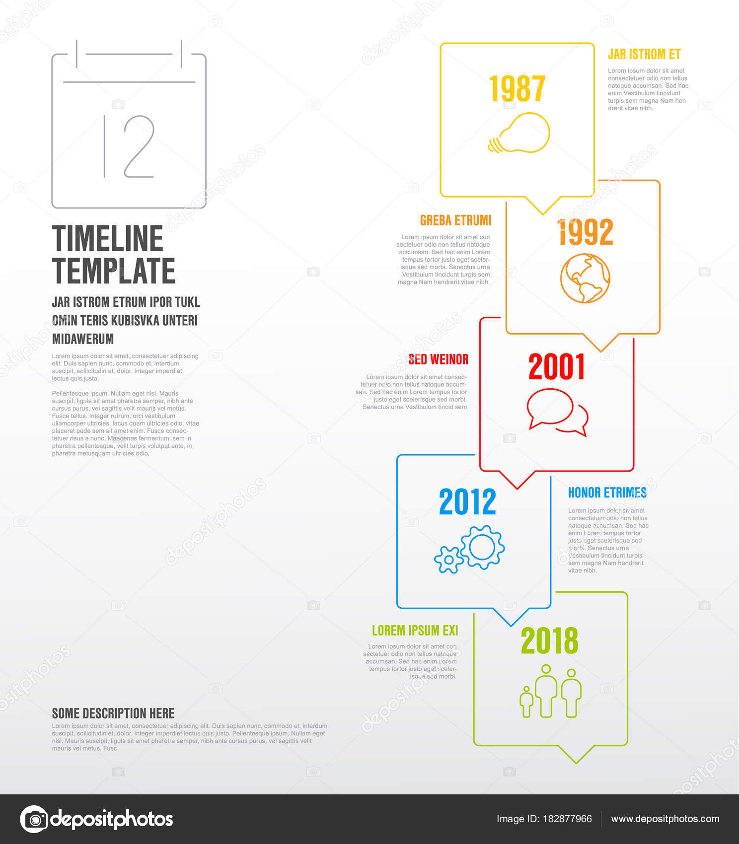 infographic vertical timeline template stock vector orson 182877966