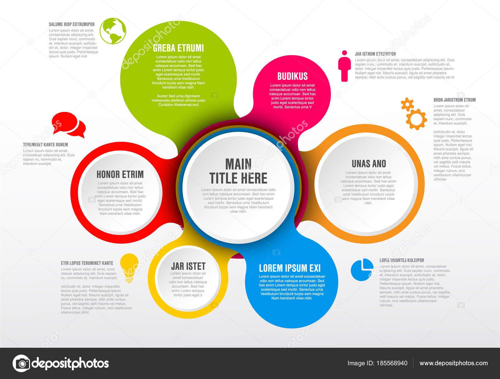 Vector Plantilla Informe Infografía Con Círculos Iconos Colores ...