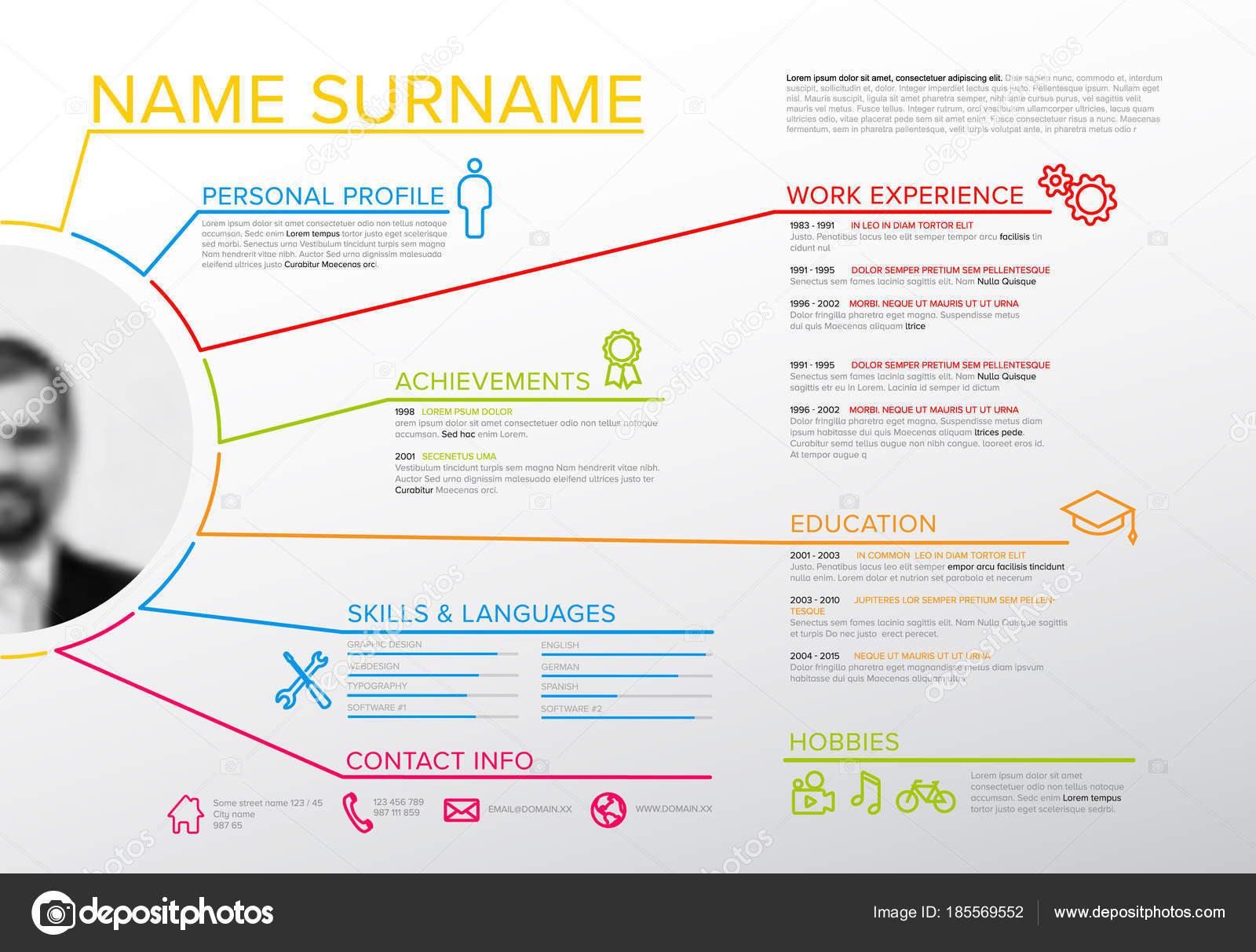 vector original minimalist resume template profile photo creative