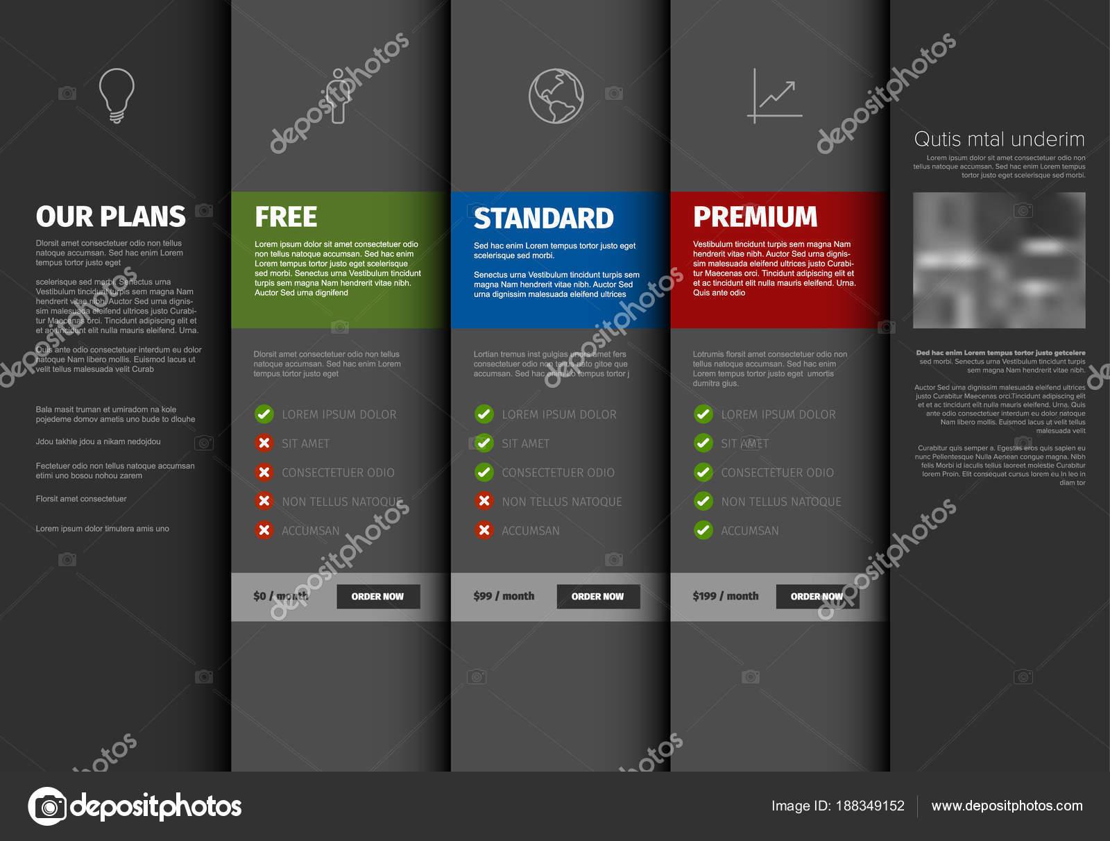 product service pricing comparison table template description dark