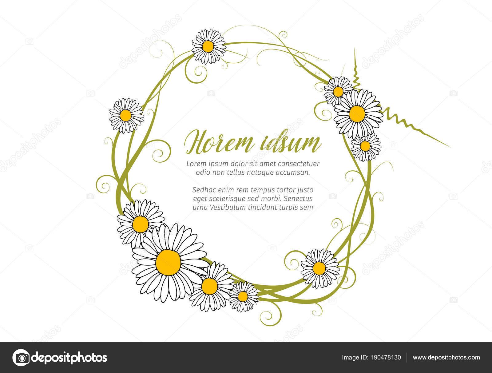 Vector Plantilla Marco Daisy Para Carta Amor Ronda — Archivo ...