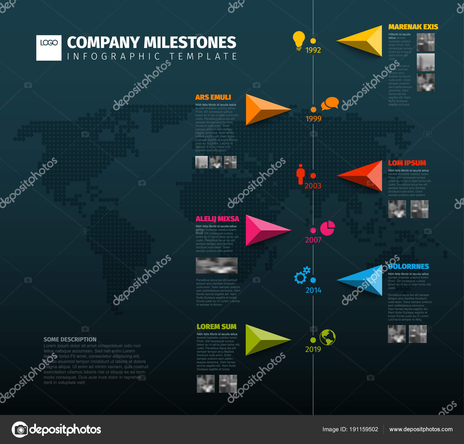 Vector infographic company milestones timeline template pointers vector infographic company milestones timeline template pointers line world map stock vector gumiabroncs Image collections