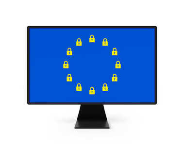 EU Data Protection GDPR screen with EU flag padlocks